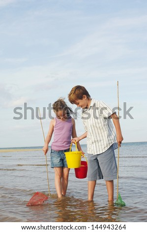 Brother and sister with buckets and small fishnets in water on beach  - stock photo