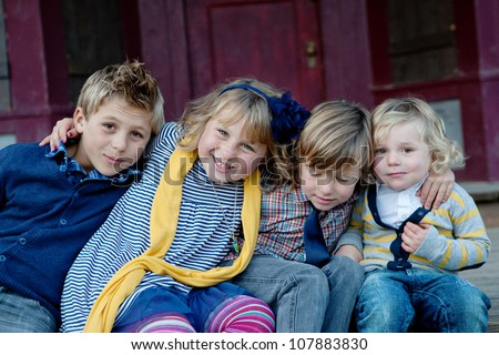 Brothers and Sister - stock photo