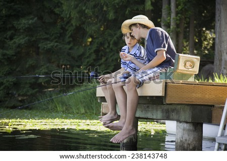 Brothers Fishing - stock photo