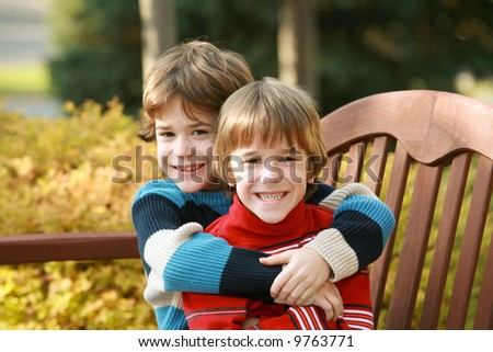 Brothers Hugging - stock photo