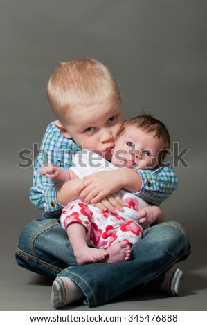 Brothers love - stock photo