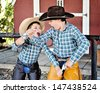 Brothers Playing - stock