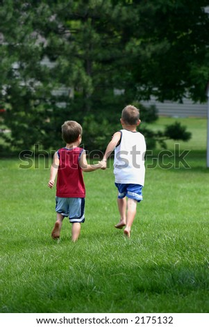 Brothers Running - stock photo