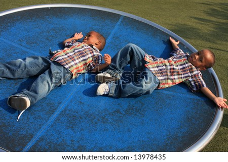 Brothers Spinning - stock photo
