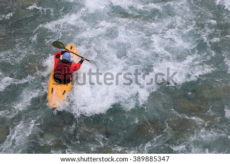 BROTO, SPAIN. 31 MAY 2014. Descent in canoe by the Ara River in Broto.