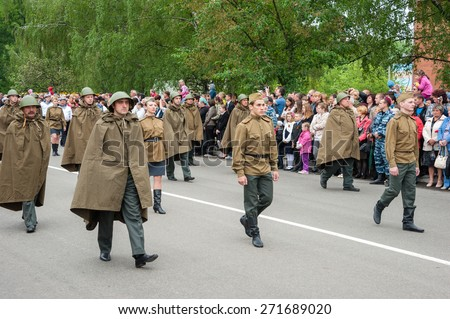 BROVARY, UKRAINE. Military Victory parade devoted to Victory Day on May 9. May 9, 2012