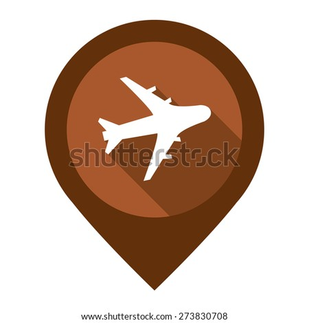 Brown Aeroplane, Airplane, Airport, Landing Field, or Logistic Map Pointer Icon Isolated on White Background  - stock photo