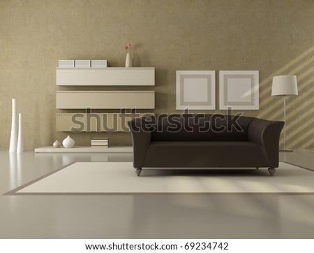 brown and beige contemporary living room - rendering - stock photo