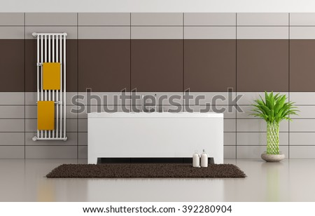 Brown and beige minimalist bathroom with bathtub and vertical radiator - 3D Rendering - stock photo