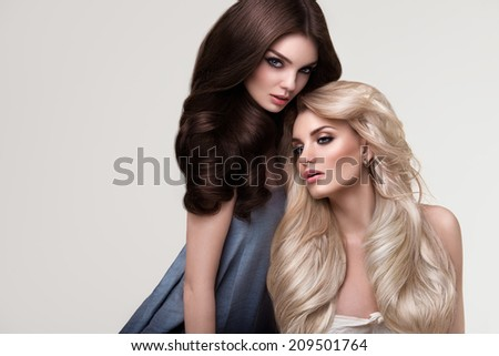 Brown and Blonde Hair. Portrait of Beautiful Women with Long Hair. High quality image. - stock photo