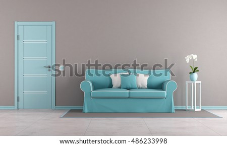 Brown and blue living room with elegant sofa and closed door - 3d rendering