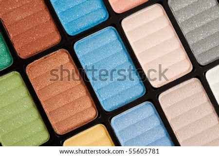 brown and blue make-up eyeshadows - stock photo