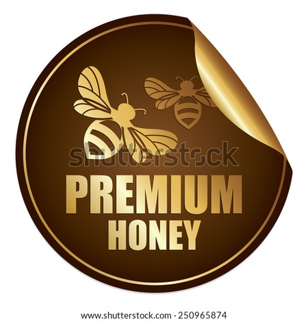 Brown and Gold Metallic Premium Honey Sticker, Icon or Label Isolated on White Background  - stock photo