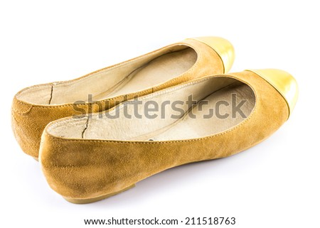 Brown and Gold Shoes on white background