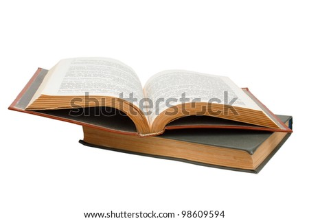 brown and gray old book isolated on white background (clipping path)