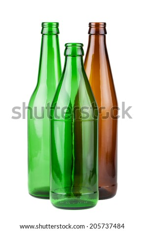 Brown and green empty bottles isolated on white background