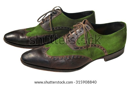 Brown and green men genuine leather shoes - stock photo