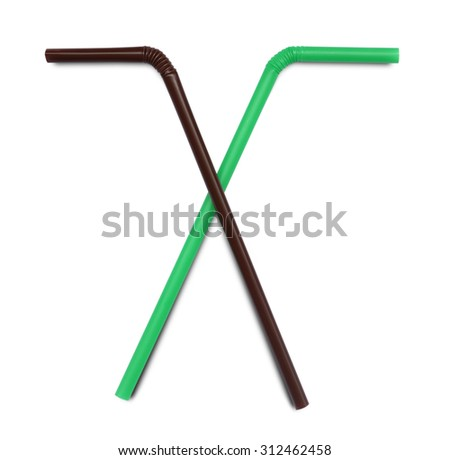 Brown and green straw on white background - stock photo