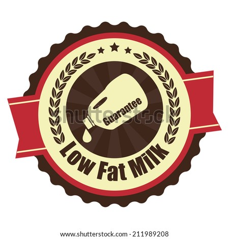 Brown and Red Vintage Low Fat Milk Icon, Badge, Sticker or Label Isolated on White Background