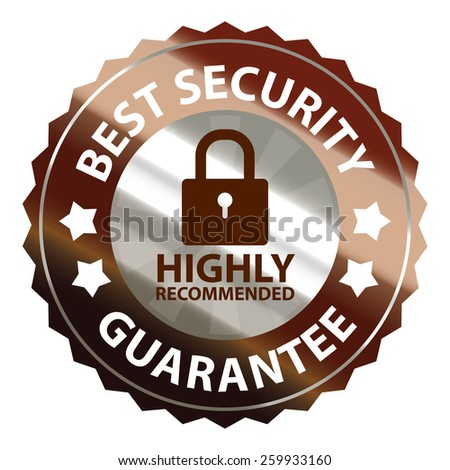 brown and silver metallic best security guarantee highly recommended sticker, sign, stamp, icon, label isolated on white - stock photo