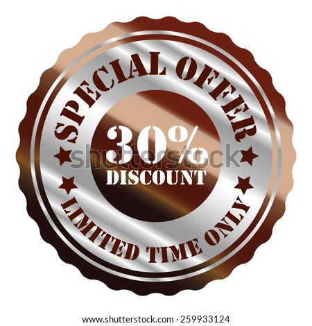 brown and silver metallic special offer 30% discount limited time only sticker, sign, stamp, icon, label isolated on white - stock photo