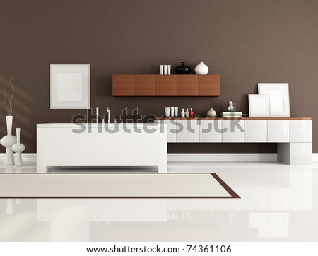 brown and white bathroom with minimalist bathtub-rendering - stock photo