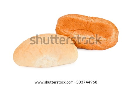 Brown and white bread rolls on isolated white background