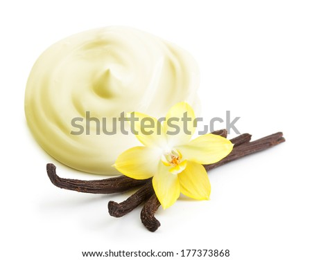 Brown and white cane sugar cubes, vanilla pods and orchid flower isolated - stock photo