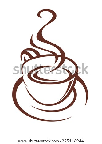 Brown and white doodle sketch of a steaming cup of coffee on a saucer with twirling steam for fast food or restaurant design - stock photo