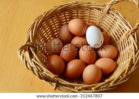 Brown and white eggs  in a wicker basket