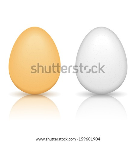 Brown and white eggs with reflection on white background