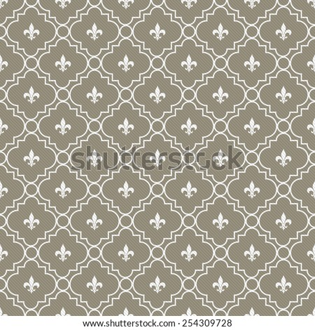 Brown and White Fleur-De-Lis Pattern Textured Fabric Background that is seamless and repeats - stock photo