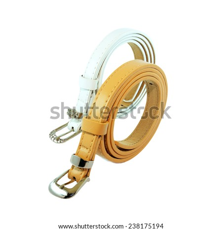 brown and white  leather belt isolated on white background - stock photo