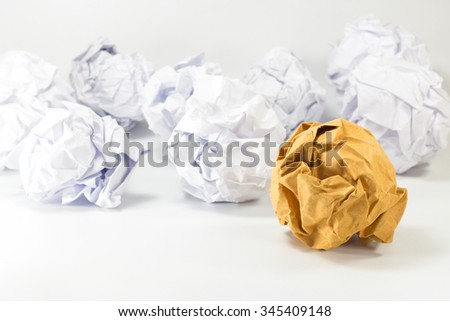 brown and white paper balls selective focus with shallow depth of field - stock photo