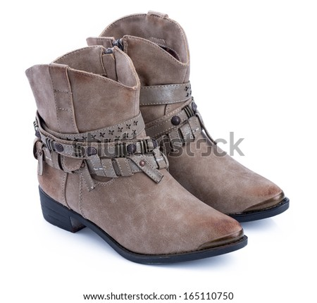Brown ankle boots Trendy pair of woman's brown shoes on a white background. - stock photo