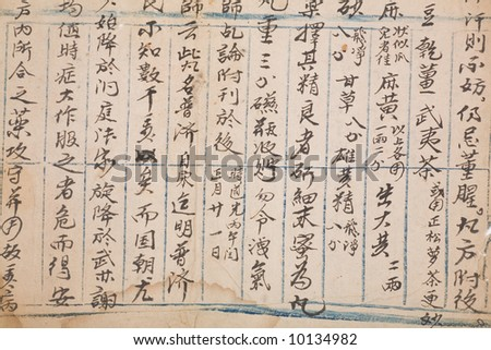brown antique chinese book page for background - stock photo
