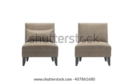 Brown armchairs with and without pillow, isolated with clipping mask.
