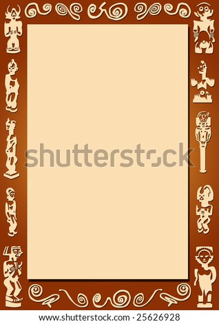 Brown Background Border African Signs Symbols Stock Illustration