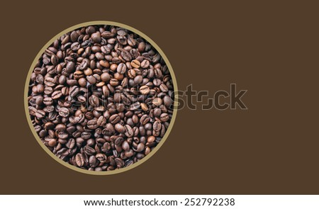Brown background with window on coffee beans - stock photo