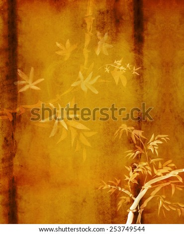Brown background with yellow bamboo, painted in watercolor in oriental style  - stock photo