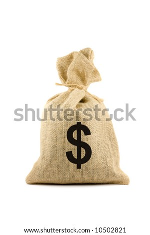 Brown bag with dollar sign. Isolated on white - stock photo