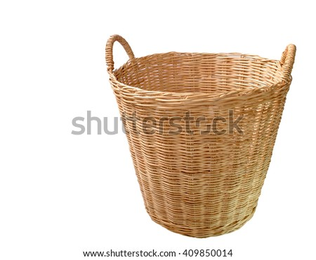 brown bamboo basketry in isolated - stock photo