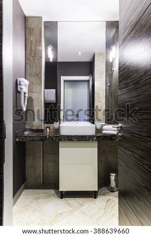 Brown bathroom interior