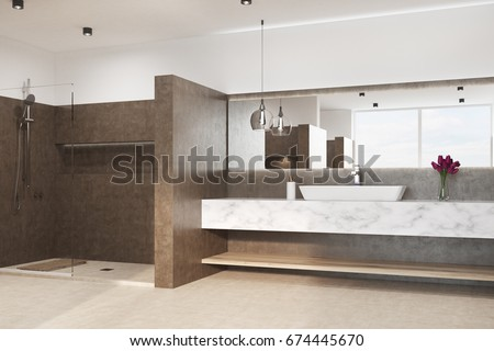 Brown bathroom interior with a white floor, a shower, a marble sink and an original lamp. Flowers in a vase. 3d rendering mock up