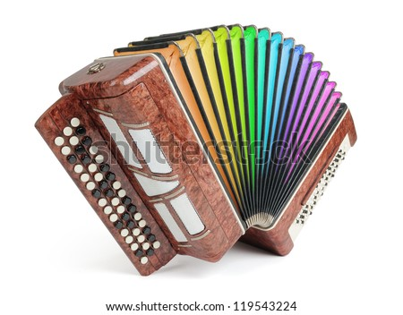 Brown bayan (accordion) colors of the rainbow on white background. File contains a path to isolation. - stock photo