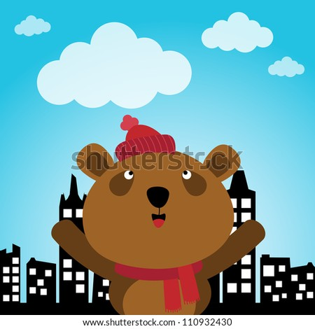 Brown bear in the city - stock photo