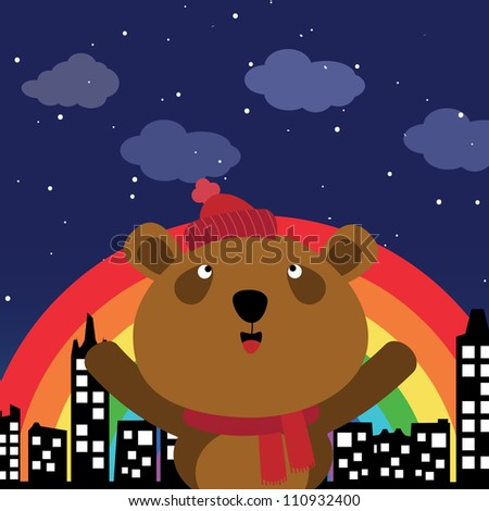 Brown bear in the city at night with rainbow - stock photo
