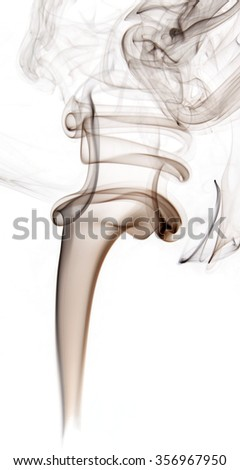 Brown beautiful insence smoke on white background, graphic resource. - stock photo