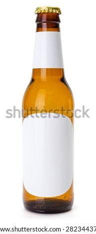 Brown beer bottle with blank labels on white background - stock photo