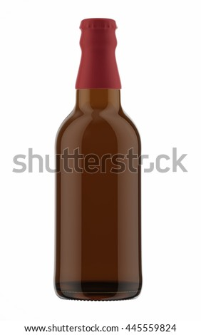 Brown beer bottle with red cap isolated on white background. 3D Mock up for your design.